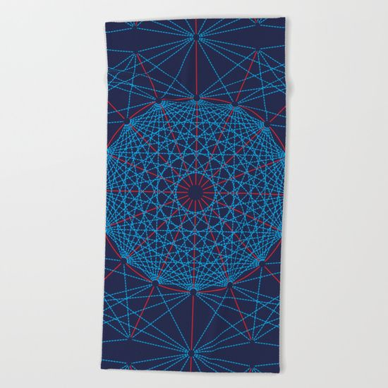 "Geometric Circle Blue/Red Beach Towel by Fimbis   ________________________ Lay out like a pro with this super comfy, oversized and unique artist-designed Beach Towel. The soft polyester-microfiber front and cotton terry back are perfect for, well, drying your front and back. This design is also available as a bath and hand towel. Machine washable.  Towel Dimensions: 74""x37"""