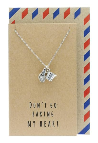 Carmel Kitchen Charm Necklace, Funny Greeting Card, Gifts for Bakers