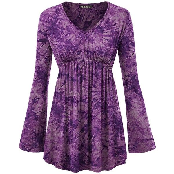 Lock and Love LL WT1160 Womens Tie-Dye Long sleeve Empire Waist Line... ($15) ❤ liked on Polyvore featuring tops, tunics, purple long sleeve top, long sleeve empire waist tops, long sleeve tunic, tie die tops and tie-dye crop tops