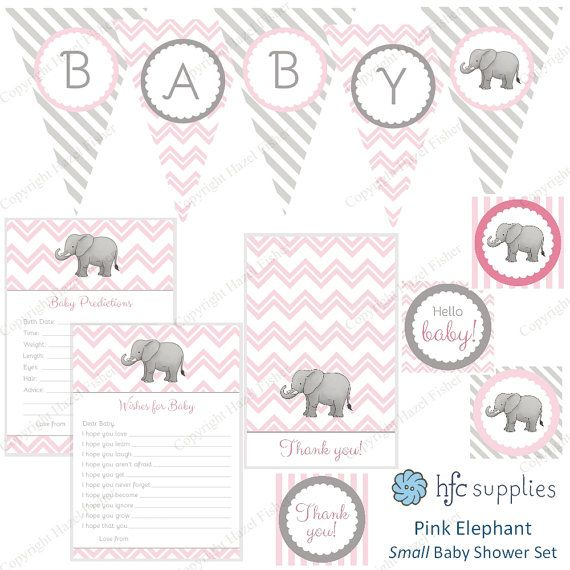 Elephant Baby Shower Set  Pink printable party collection by hfcSupplies