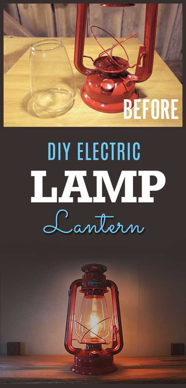 Awesome  Crafts for Men and Manly DIY Project Ideas Guys Love - Fun Gifts, Manly Decor, Games and Gear. Tutorials for Creative Projects to Make This Weekend | DIY Electric Camp Lantern |  http://diyjoy.com/diy-projects-for-men-crafts