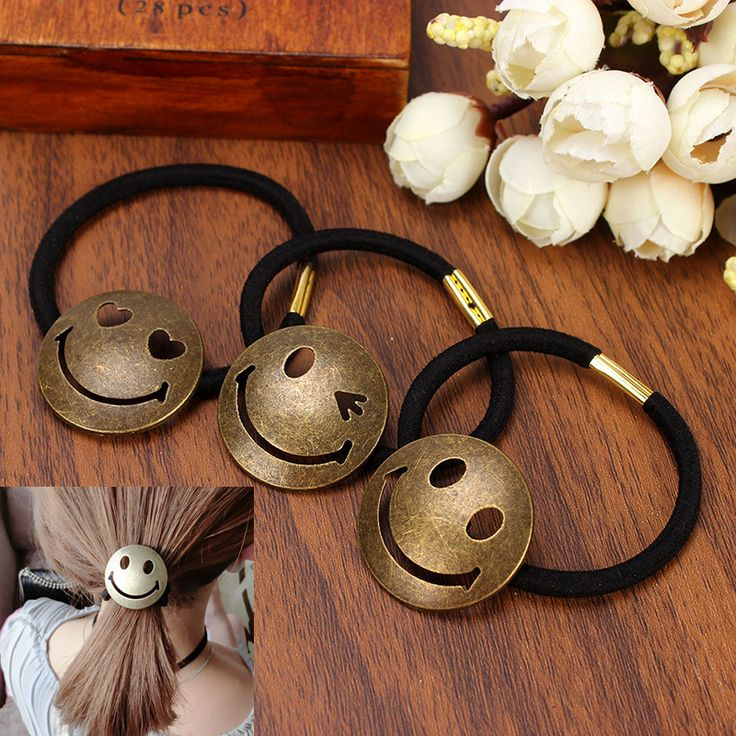 2016 Europe Style Fashion Accessories Cartoon Smile Face Jewelry Hair Metal Elastic Hair bands