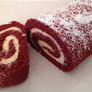 Red Velvet Roll: Moist red velvet cake rolled around smooth cream cheese filling
