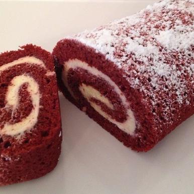 Red Velvet Roll: Moist red velvet cake rolled around smooth cream cheese filling