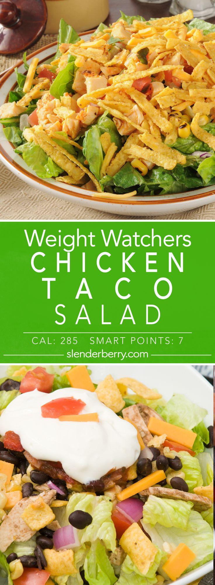 Weight Watchers Chicken Taco Salad Recipe - 7 Smart Points 285 Calories (Weight Watchers Chicken Meals)