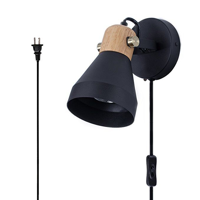 Minimalist Wall Light Sconce Plug In Switch Button Cord E26 Base Modern Contemporary Style Lighting Wall L Wall Lamps With Cord Black Wall Lamps Modern Sconces Lamp with switch on base