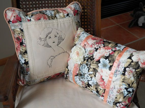 Pretty in Peach and Roses Pillows