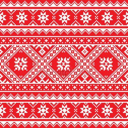 Скачать - Украинский, славянский народное искусство связала красный и белый узор вышивки — стоковая иллюстрация #50195865