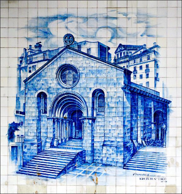 Igreja de Sao Tiago  Blue tile mural from the streets of Coimbra, Portugal