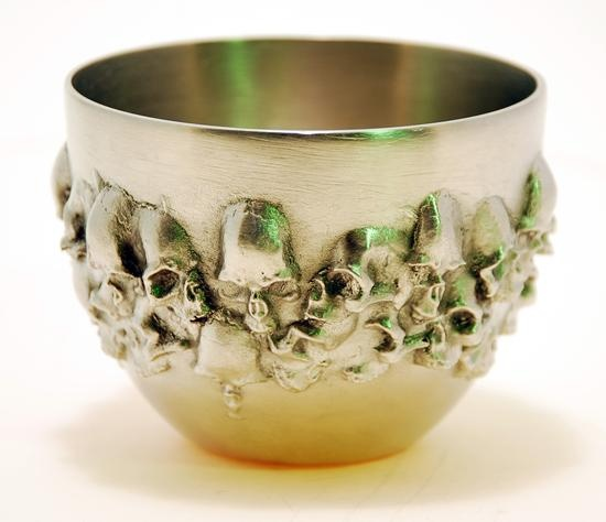 """Richard Prillaman - Pewter Skull Cup. 4-1/2"""" Tall. National Ornamental Metal Museum, Memphis, Tennessee. Awesome!!!"""