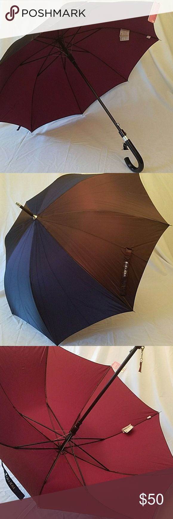 "Rihanna Umbrella for Totes in Iridescant Black I currently 3 Black/purple, and 1 Silver/purple. All are new in their original packaging Brand new with tags Made in collaboration by Rihanna and Totes for Rihanna's hit song ""Umbrella"" back in 2008 Outside is Iridescant Black or Silver, inside is Iridescant Purple RIHANNA is spelled on the clasp in rhinestones Removable metal R keychain on handle Rare, impossible to find Clean smoke free home Totes Accessories Umbrellas"
