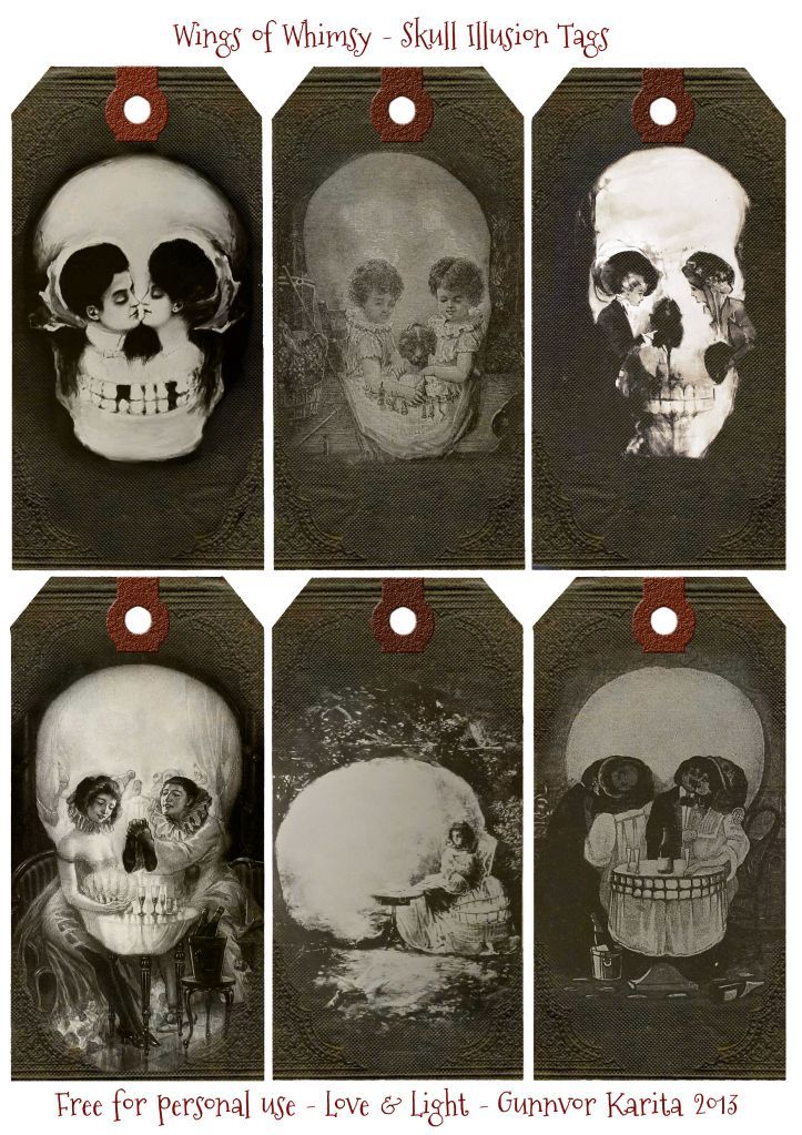 Wings of Whimsy: Skull Illusion Tags - free for personal use #vintage #victorian #edwardian #printable #halloween #hallowe'en