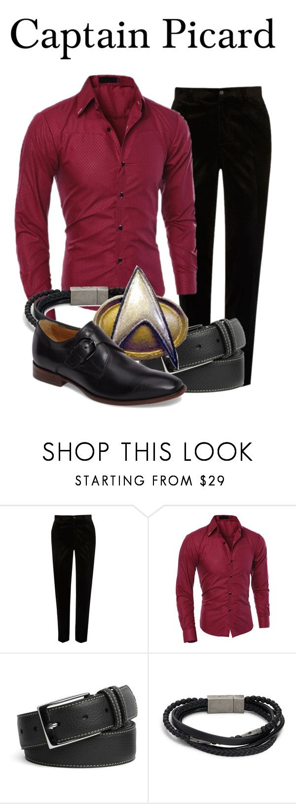 """""""Captain Picard"""" by megan-vanwinkle ❤ liked on Polyvore featuring River Island, Peter Millar, Saks Fifth Avenue, Johnston & Murphy, men's fashion and menswear"""