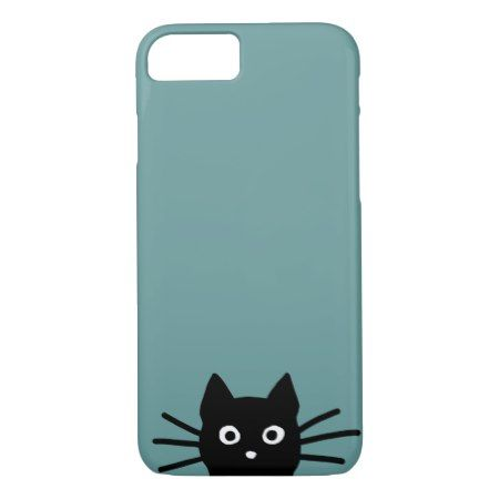 Black Cat on Blue (Color is Customizable) iPhone 7 Case - tap to personalize and get yours