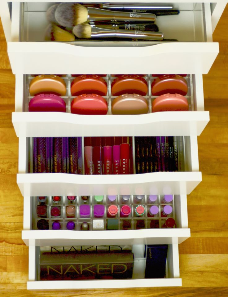 Ikea® Alex drawers loaded all stocked up :) Top drawer is the Sonny Cosmetics Alex 4 Brush Organizer, Second Drawer is the Alex 56 Blush organizer, Third drawer is the Alex 6 Eyeliner Organizer, 4th drawer is the Alex 130 Lipstick organizer, and the bottom drawer is the Alex 8 Palette organizer