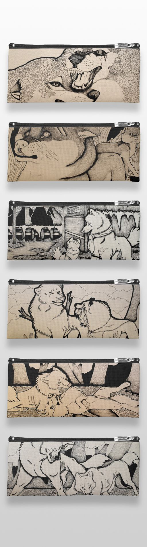 Black and white illustrated wolf pencil cases