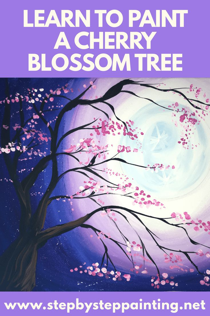 How To Paint A Cherry Blossom Tree With Moon - Step By Step Painting