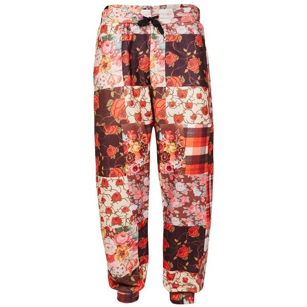 TOPMAN Jaded Red Patchwork Joggers ($65) ❤ liked on Polyvore featuring men's fashion, men's clothing, men's activewear, multi, men's urban apparel and urban mens clothing