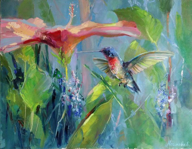 "birds, painting, neshkovaart, Екатерина Нешкова, Ekaterina Neshkova Art, картина, ""В тени деревьев"", 45х60см, птичка, колибри,"