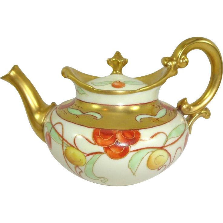 Antique French Limoges Tea Pot Hand Painted Cherries Presented is this TV Limoges teapot featuring canary yellow and ruby red cherries expertly hand painted on a classic, ecru backdrop.  #vintagebeginshere at www.rubylane.com #antiques #limoges #teapot
