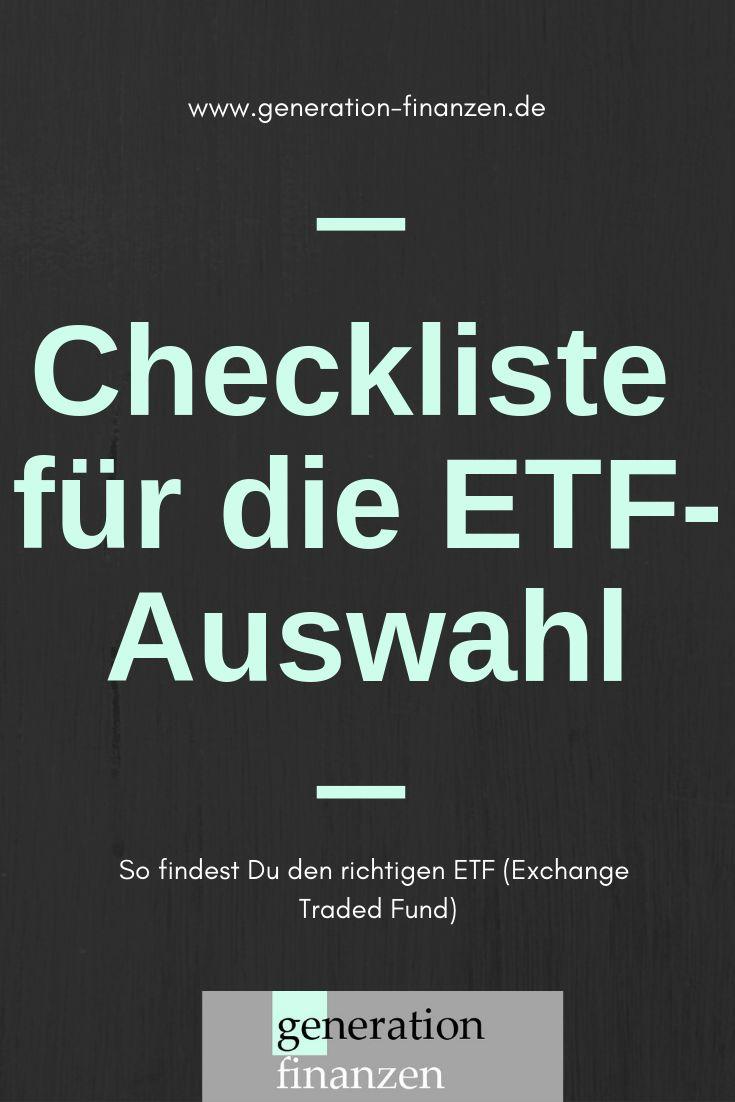 Checkliste für die Auswahl von Exchange Traded Funds (ETFs): So findest Du den … – Generation Finanzen [Blog]