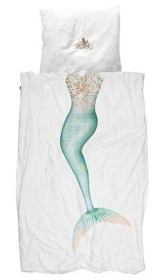 Parure de lit 1 personne Sirène / 140 x 200 cm Sirène / Bleu-vert - Snurk - Décoration et mobilier design avec Made in Design