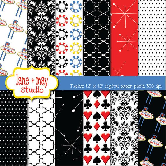 Las vegas thema rood zwart-wit patronen digitale door laneandmay