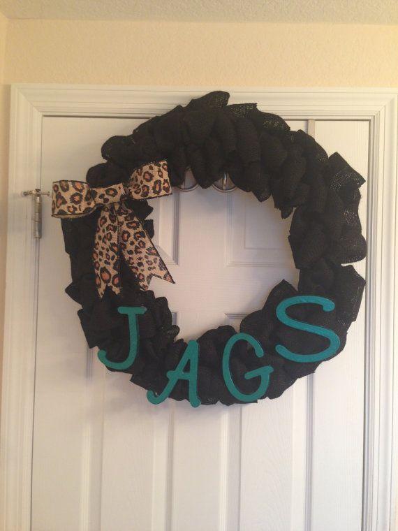 Jacksonville Jaguar Burlap Wreath by SouthernThreadsbyKO on Etsy, $50.00