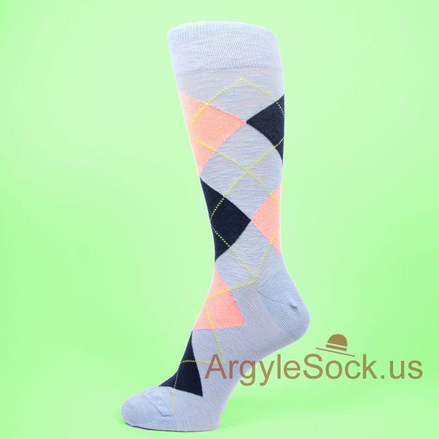 Groom Socks - Tan, Orange, Light Blue - Groomsmen Socks - Mens Dress Socks - Groomsmen Gift - Wedding Socks - Wedding Party Gift