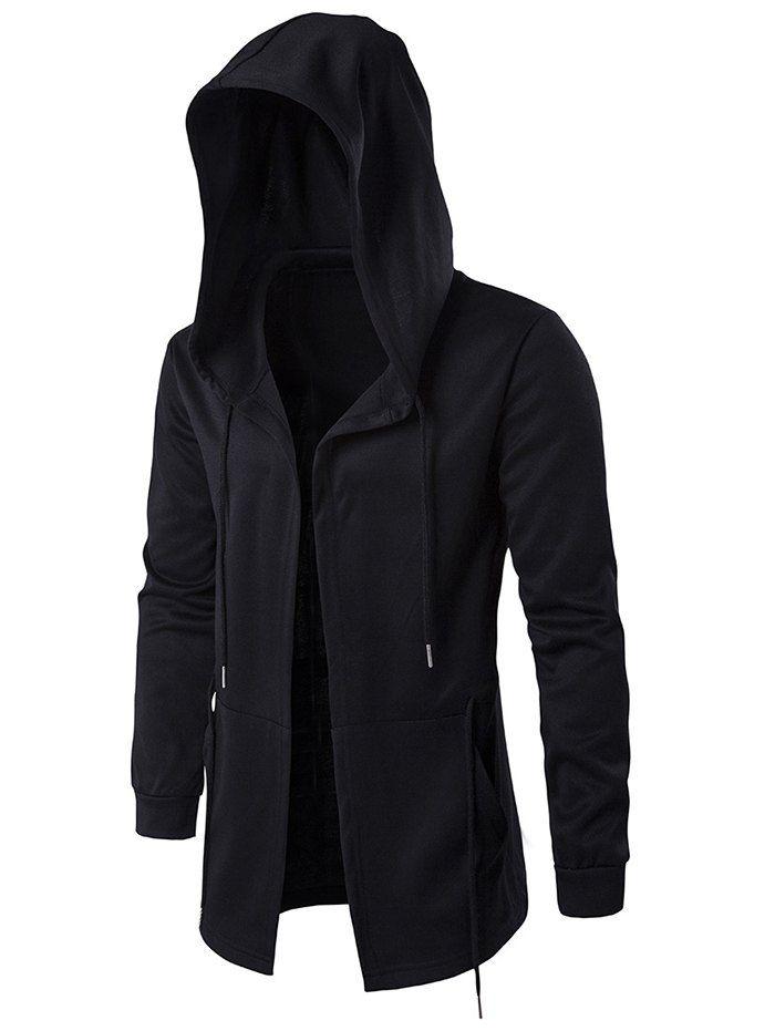 Cloak Hooded Waist Open Front Hoodie