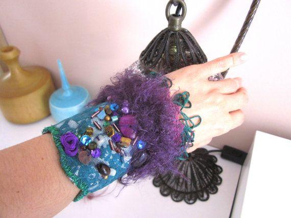 Christmas Bracelet Gift Fabric bracelet  by catyflowerpower