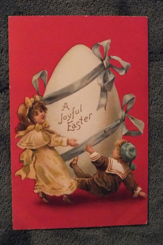ANTIQUE POSTCARD EASTER GOLD GILT/EMBOSSED GERMANY 1910 POST MARKED  | eBay