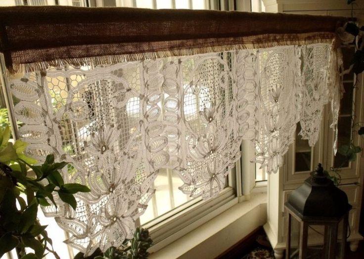 gorgeous!antique кружевной балдахин с бантом из мешковины занавески потертый деревенского шика белый