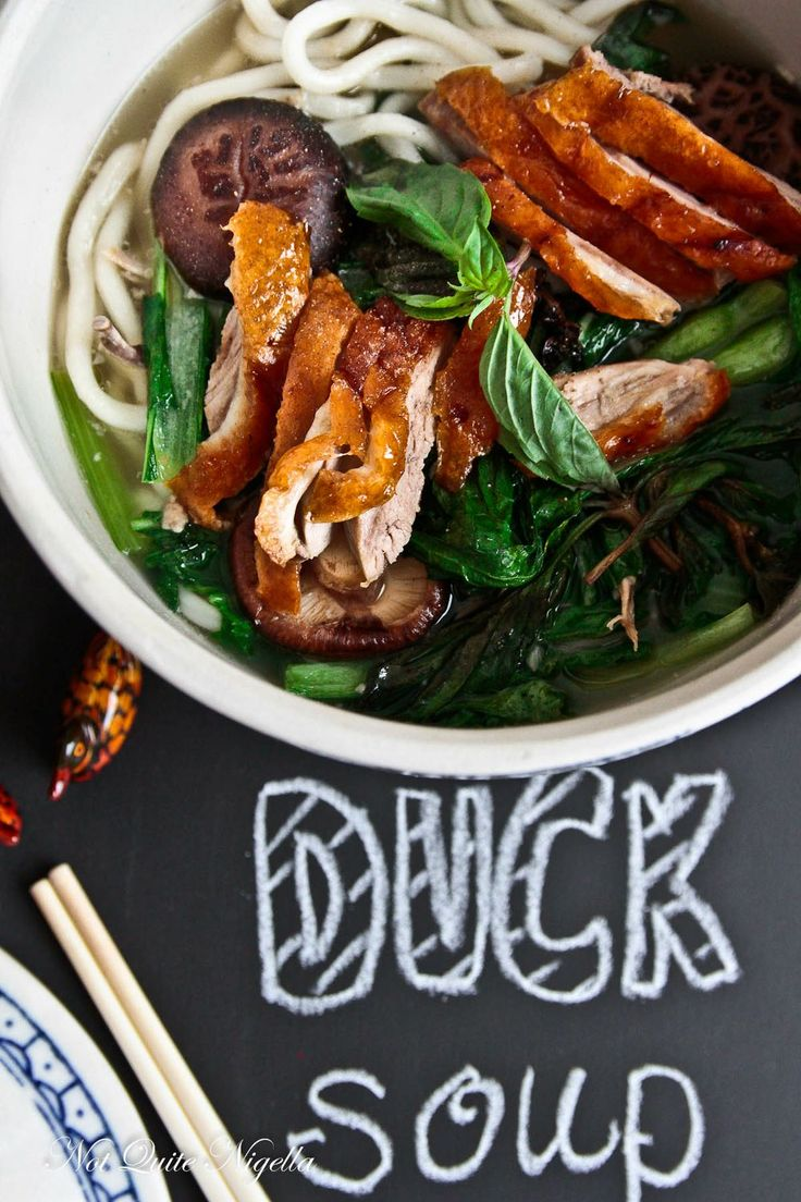 Peking duck soup (for the day after you eat duck with pancakes). Cook broth from duck bones, add dried mushroom, bok choy and udon noodles, serve with thai basil, sesame oil and some leftover duck meat.