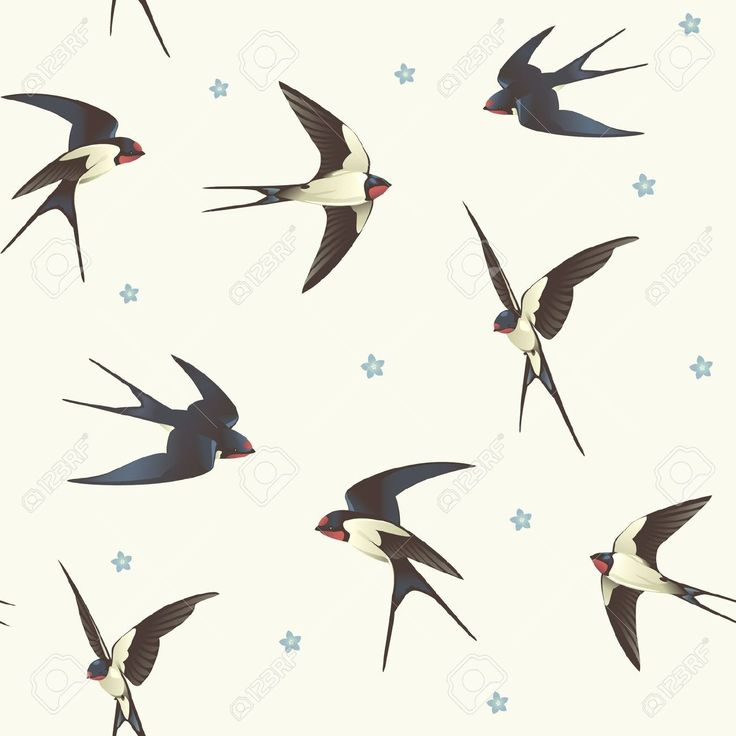 Fondo Inconsútil Con El Modelo Traga Con Una Bandada De Pájaros Ilustraciones Vectoriales, Clip Art Vectorizado Libre De Derechos. Pic 16061444.