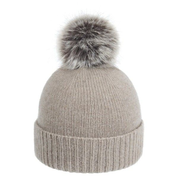 Pom-Pom Beanie   Oatmeal with Truffle Pom-Pom (€85) ❤ liked on Polyvore featuring accessories, hats, beanie hat, pom pom hat, pom beanie, snap hat and beanie cap hat