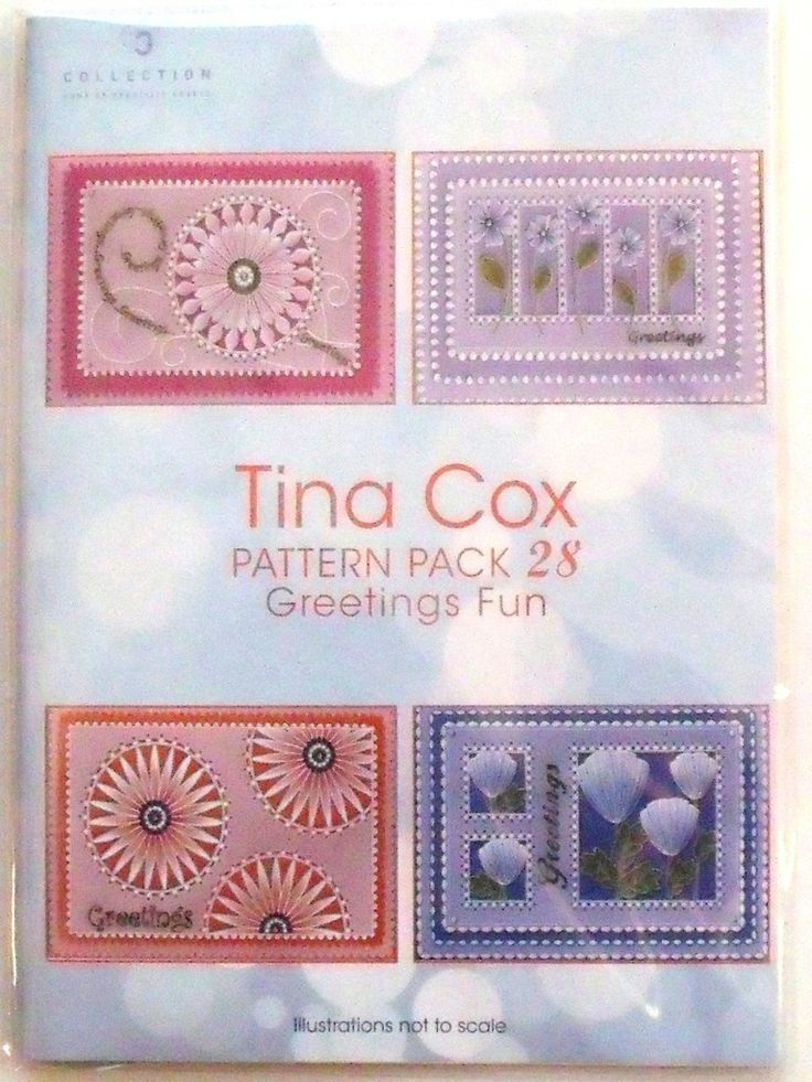 PATTERN PACK 28 GREETINGS FUN BY TINA COX   Greetings Fun by Tina Cox, four beautiful new designs.