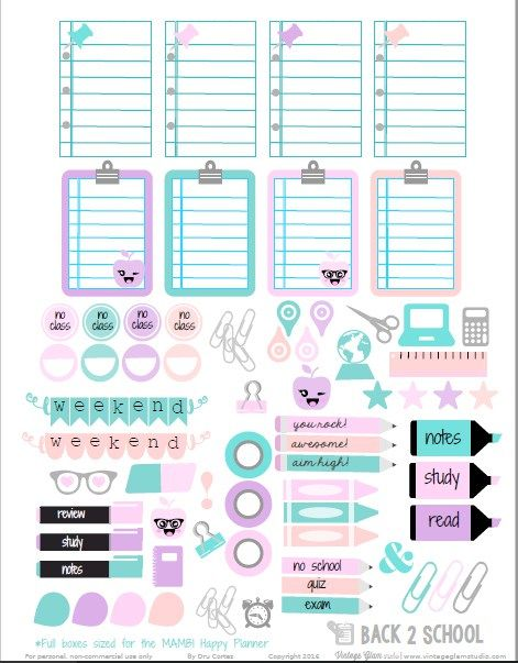 Free Printable Back to School Planner Stickers from Vintage Glam Studio