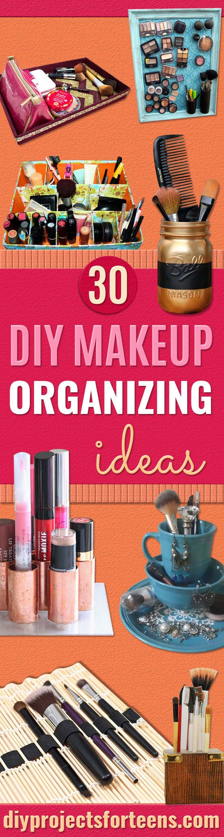 DIY Makeup Organizing Ideas - Projects for Makeup Drawer, Box, Storage, Jars and Wall Displays - Cheap Dollar Tree Ideas with Cardboard and Shoebox - Wood Organizers, Tray and Travel Carriers http://diyprojectsforteens.com/diy-makeup-organizing