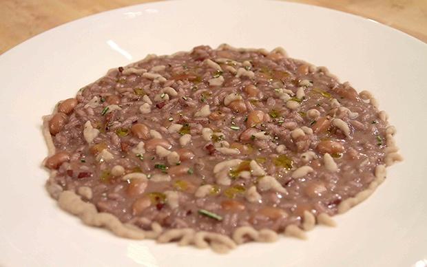 Risotto borlotto (Risotto ai fagioli in salsa di fagioli), di Andrea