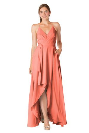 THIS IS MY FAVORITE!!!   Bari Jay Bridesmaids--barijay.com, Style 1704 --Wrap Bridesmaid Gown with Hi-Low Hem  color:Salmon  Can also be found online for purchase at French Novelty: https://www.frenchnovelty.com/bari-jay-1704-wrap-bridesmaid-gown-with-hi-low-hem?gclid=CjwKCAjw87PNBRBAEiwA0XAIr4dxlh_Rqn2EAJLOT5n-FRJ3IhXHBK5TZEBBblQ-lCozKuGXwHeNZhoChQ4QAvD_BwE