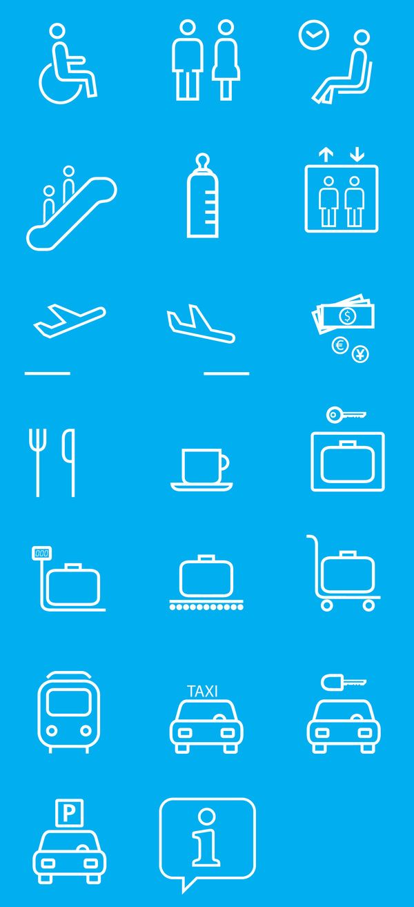 Pictograms for the new wayfinding system of the Pisa Airport.
