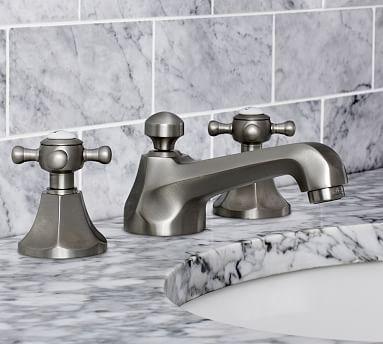 Victoria Cross Handle Widespread Bathroom Faucet, Satin Nickel Finish
