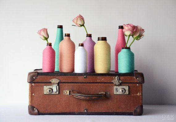 Decorative 500ml bottle/vase wrapped in pastel cotton twine - Featured in Australia House & Garden Magazine!