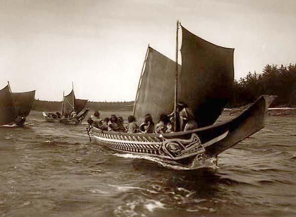 You are looking at an educational picture of Indians in Sailing Boats. It was taken in 1914 by Edward S. Curtis.    The picture presents Kwakiutl in canoes, British Columbia.    We have created this collection of pictures primarily to serve as an easy to access educational tool. Contact curator@old-picture.com.