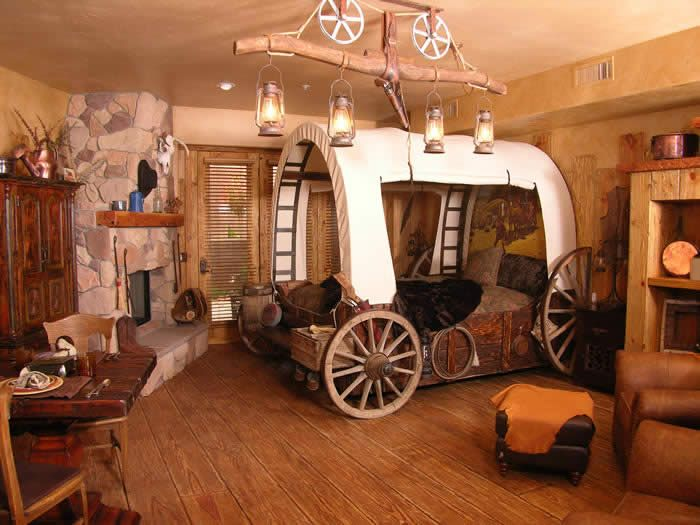 Covered wagon bed (it would have a Tempurpedic mattress, of course)