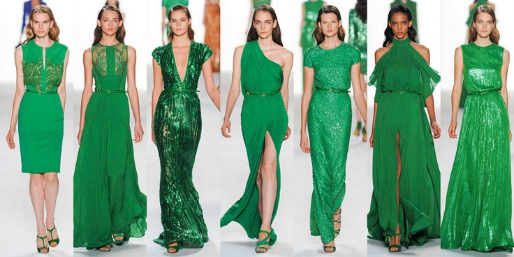 FW 2012 trend: Green: Fashion, Emeralds Green Dresses, Bridesmaid Dresses, Ellie Will Be, Red Carpets, Elie Saab Spring, Colors Green, Spring 2012, Haute Couture