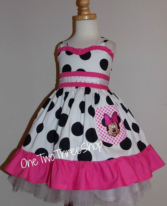 """Minnie Mouse Dress """"sweetheart"""" Birthday Custom Boutique Children Clothing Black Jumper  Dress 12 Months to 6 Years"""