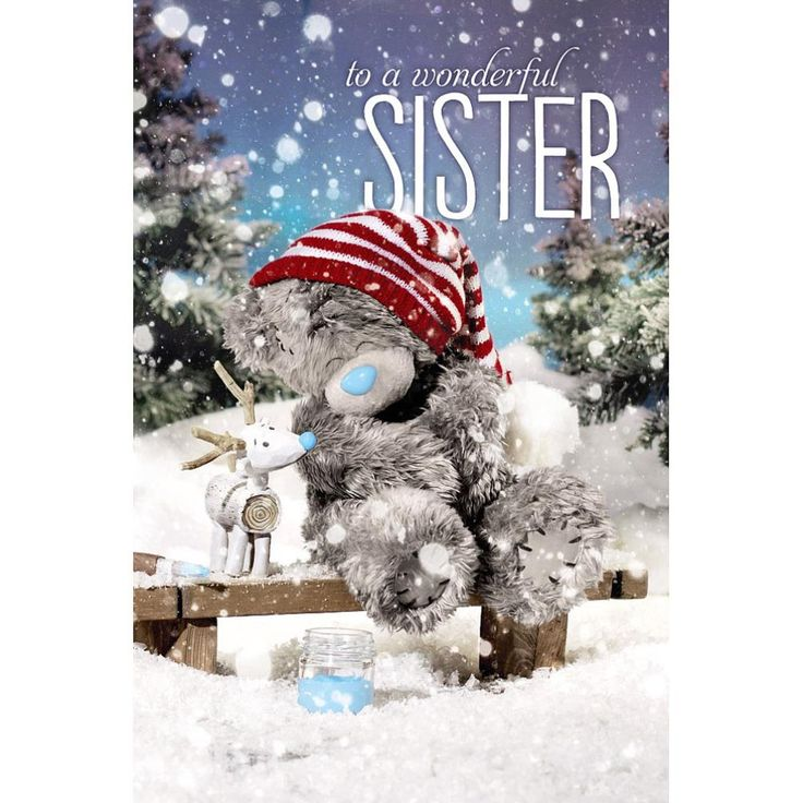3D Holographic Sister Me to You Bear Christmas Card  £3.79