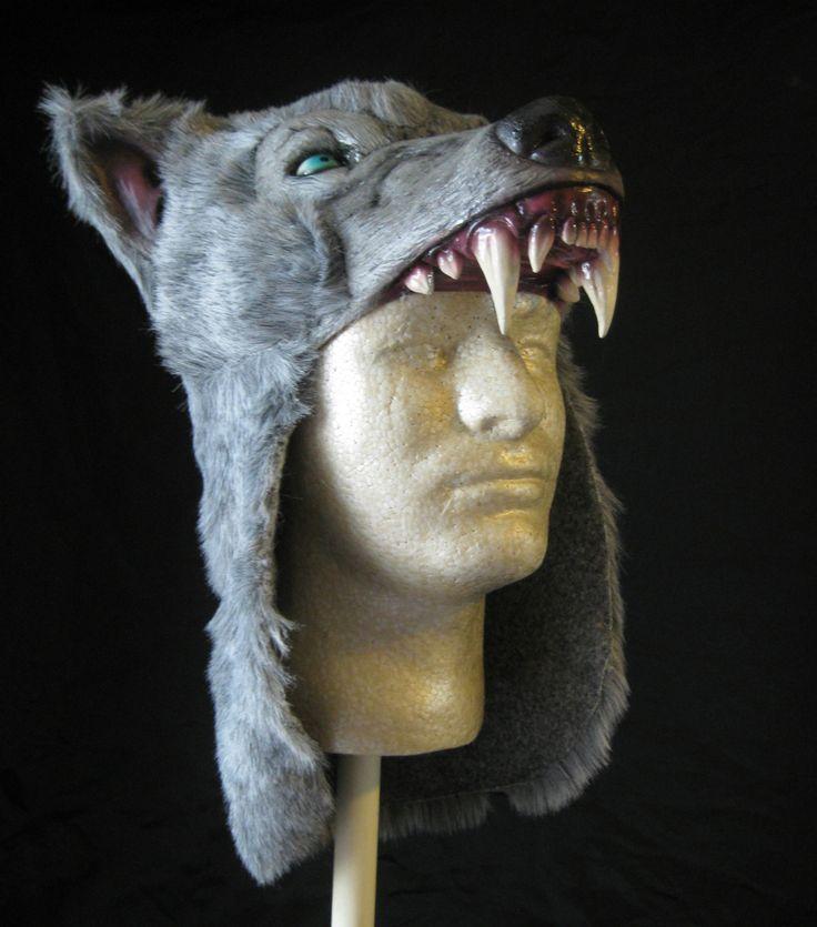 Gray Wolf Hat Savage Costume Caveman Wildling Adult Latex Halloween Hat picclick.com